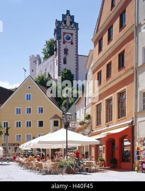 Germany, Bavaria, east Allgäu, to feet, city centre, Reichenstrasse, high, lock, street cafe, Europe, Allgäu, Swabian, - Stock Photo