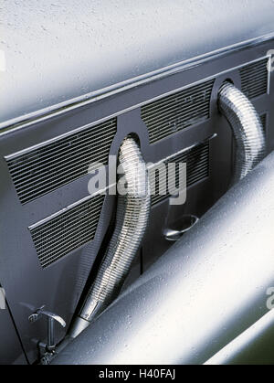 Car, old-timer, detail, discharge pipes, chrome, vehicle, passenger car, autocuts, radiators, cooling fins, ventilation - Stock Photo