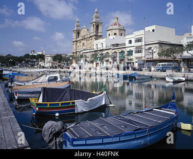 Malta, Msida, town view, harbour, St. Joseph's church, island state, island, town, fishing harbour, fishing boats, - Stock Photo