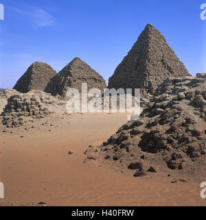 Sudan, Nuri, necropolis, Napatan kings, pyramids, Africa, temple, ruin, architecture, archeology, culture, place - Stock Photo