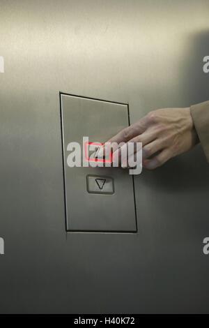 Elevator, women, hand, button 'upward', press, - Stock Photo