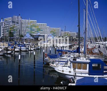 Germany, Schleswig - Holstein, the Baltic Sea, Damp, yacht harbour, Europe, Baltic bath, seaside resort, town view, - Stock Photo