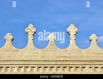 Detail of Fisherman's Bastion beautiful romanesque bastion in Budapest, built at the end of 19th century - Stock Photo