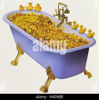 Bath, golden coins, plastic ducks, concepts, icon, saying, 'in the money have a bath', swim 'in the money', gold, - Stock Photo