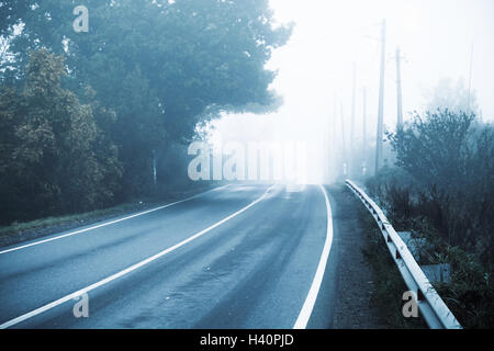 Empty rural highway in autumn foggy morning, stylized photo with cold blue tonal correction filter effect