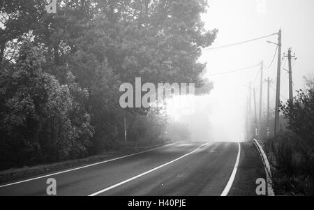 Empty rural highway in autumn foggy morning, black and white retro stylized photo