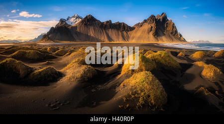 Panoramic view Stokksnes in Iceland - Stock Photo