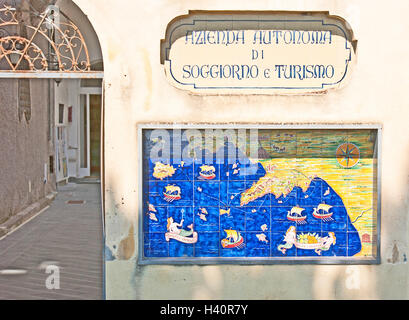 The medieval tiled map of the Amalfi coast - Stock Photo