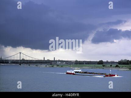 Germany, North Rhine-Westphalia, Rhine bridge, connection, Krefeld, Uerdingen, freighter, Europe, dysentery area, - Stock Photo