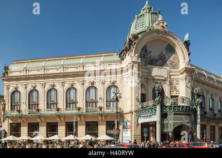 Autumn day at Municipal House in Prague old town, Czech Republic. - Stock Photo
