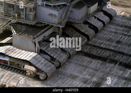Brown coal opencast mining, bucket wheel excavator, detail, chassis, mine, brown coal opus, brown-coal mining, opencast - Stock Photo