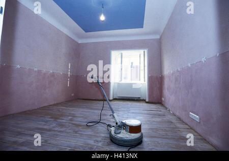 Living space, renovation, parquet flooring, sanding machine, own home, room, blank, reorganisation, renewal, do - Stock Photo
