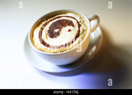 Cup, cappuccino, froth, yin and yang coffee, coffee drink, in Italian, drink, alcohol-free, icon - Stock Photo