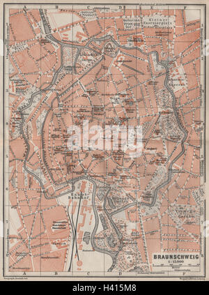 BRAUNSCHWEIG town city stadtplan Brunswick Lower Saxony karte 1904