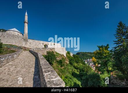 Stone bridge at Stari Grad Fortress in Travnik, Central Bosnia Canton, Bosnia and Herzegovina - Stock Photo