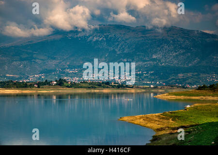 Radusa massif over Ramsko jezero, artificial lake in Rama Valley, Dinaric Alps, view from Scit Island, Bosnia and - Stock Photo
