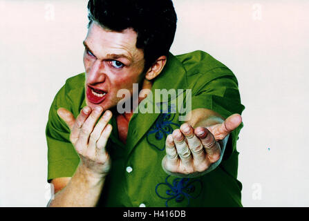 Man, fury, gesture, request, portrait, studio, cut out, emotion, fury, provocation, aggressively, cantankerous, fight, readiness for violence, provoke, challenge, challenging, aggression, aggressively, aggressiveness, angers, nastily, fury, furiously, rag
