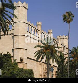 Spain, Majorca, Palma de Majorca, La Llonja, facade, detail, the Balearic Islands, island, the Mediterranean Sea, - Stock Photo