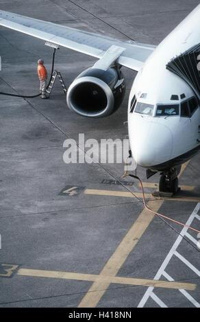 Germany, North Rhine-Westphalia, Dusseldorf, airport, landing field, man, airplane, fuel with, Europe, with airfield, - Stock Photo