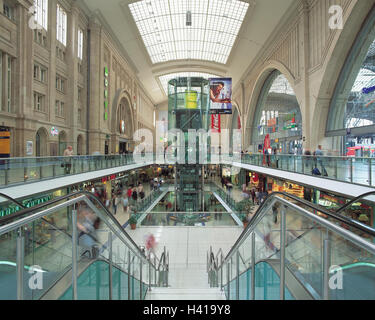 Germany, Saxony, Leipzig, central station, promenades, shopping arcade city centre, centre, space the republic, - Stock Photo