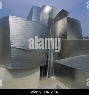 Spain, Bilbao, home Guggen museum, facade, detail, Europe, the Basque Provinces, art, museum, structure, architecture, - Stock Photo
