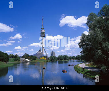 Germany, Bavaria, Munich, Olympic Park, television tower ONLY EDITORIALLY!! Upper Bavaria, park, lake, Olympic lake, - Stock Photo