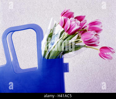 Shopping bag, flower bouquet, tulips   only editorially! Concept, purchases, bag blue, plastic bag, purchase basket, - Stock Photo