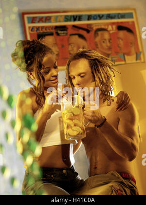 Couple, young, skin colour differently, falls in love, lemonade, drink, together, summer vacation, summer vacation, - Stock Photo