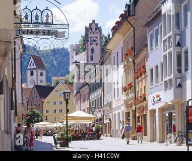 Germany, Bavaria, east Allgäu, to feet, city centre, Reichenstrasse, high, lock, steeple piece Mang, Europe, Allgäu, - Stock Photo