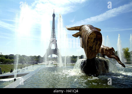 France, Paris, Trocadero, Eiffel Tower, fountain, well figures, Europe, town, capital, construction, architecture, - Stock Photo