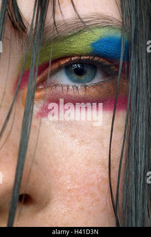 Woman, look, close up, eye, made up, brightly, strands hair grace note, personality, conspicuity, styling, Make, - Stock Photo
