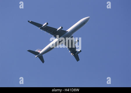 Air liner, start, flight, from below, airplane, nozzles, engines, four, 4-engined, drive, airline, airline company, - Stock Photo