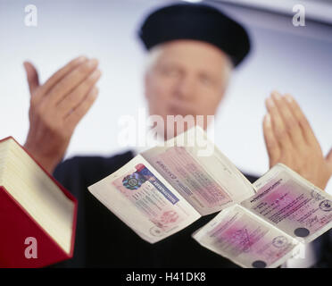 Judges, code law, residence permits, negotiations, man, justice, law, right, judgment, administration justice, civil - Stock Photo
