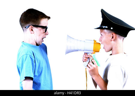 Give birth, police cap, megaphone, yells,  Friend, glasses, profile, startled  Children, brothers, friends, friendship, - Stock Photo