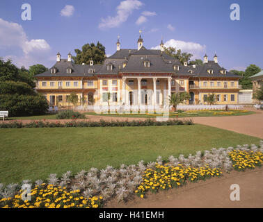 Germany, Saxony, Dresden, castle Pillnitz, mountain palace, in 1723, park, Europe, Silberstrasse, Saxon Elbland, residence, summer residence, palace, building, structure, architectural style, architecture, place of interest, culture, park