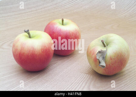 wooden table, apples, Braeburn, three, completely, table, wooden board, wooden surface, fruits, fruit, pomes, Malus, - Stock Photo