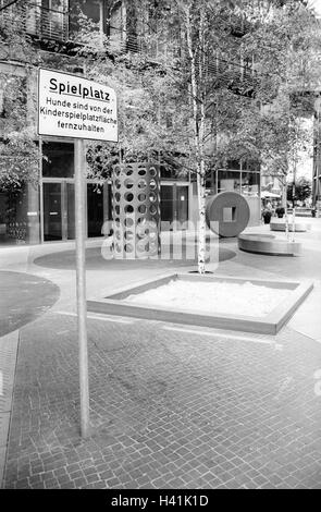 Germany, Berlin, Potsdam space, residential complex, playground, sign, dog ban, b/w, Europe, town, capital, residential - Stock Photo