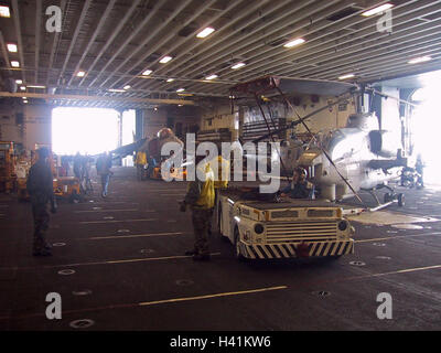 28th January 2003 Operation Enduring Freedom: a U.S. Navy Flight Deck Tractor on the hangar deck of the USS Nassau. - Stock Photo