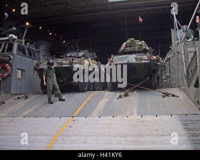 28th January 2003 During Operation Enduring Freedom, USMC armour on a hovercraft on board the USS Tortuga in the - Stock Photo