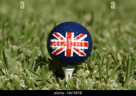 Golf ball, flag, Great Britain, Lawns, reduction,  Golf course, golf games, Green, tea, ball, golf ball, patterns, - Stock Photo
