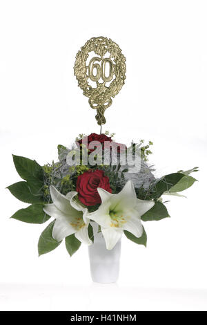 Vase, bouquet, jubilee number '60', golden flower vase, bunch, flowers, lilies, roses, annual number, annual figures, - Stock Photo