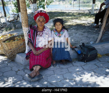 Guatemala, Atitlansee, Santiago, Atitlan, senior, girl, folklore clothes, no model release Latin America, highland - Stock Photo