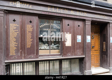 Old chemist shop in Princelet Street, Shoreditch, London E1, England - Stock Photo