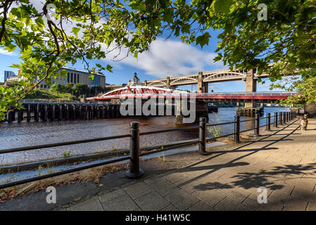 The Swing Bridge is the fourth bridge to have been built on the same site over the Tyne at Newcastle. - Stock Photo