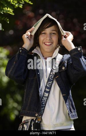 Teenagers, boy, satchel, school book,,  Head holds, gaze camera Halbporträt  Series, 15-18 years, students, jeans - Stock Photo