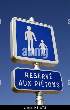 France, Cote d'Azur, Antibes, road sign, walkway, Europe, the South France, French Riviera, Mediterranean coast, - Stock Photo