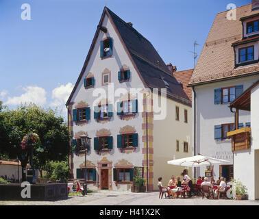Germany, Bavaria, east Allgäu, feet, city centre, Franciscan's lane, residential house, well, street cafe, Europe, - Stock Photo