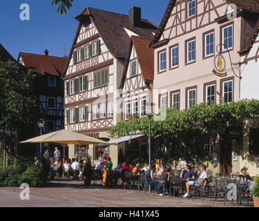 Germany, Baden-Wurttemberg, Swabian sound, terrace, street cafe, guests, no model release!, Europe, town, district - Stock Photo