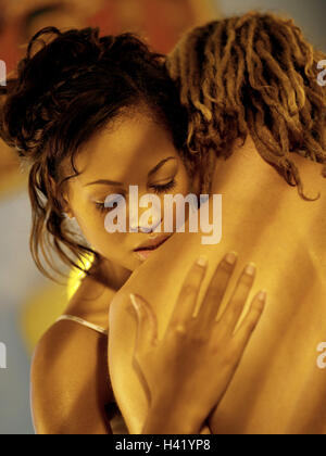 Couple, young, skin colour differently, falls in love, embrace, portrait, lovers, lovers, ethnically merged, nationality - Stock Photo