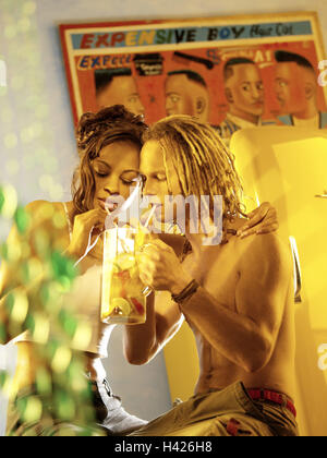 Couple, young, skin colour differently, falls in love, lemonade, drink, together, summers vacation, summer vacation, - Stock Photo